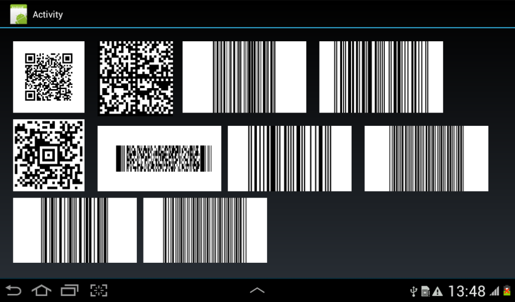 Android Example - Creating 1D and 2D Barcodes using inline Java Code