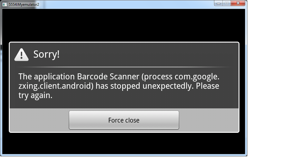 The application Barcode Scanner has stopped unexpectedly