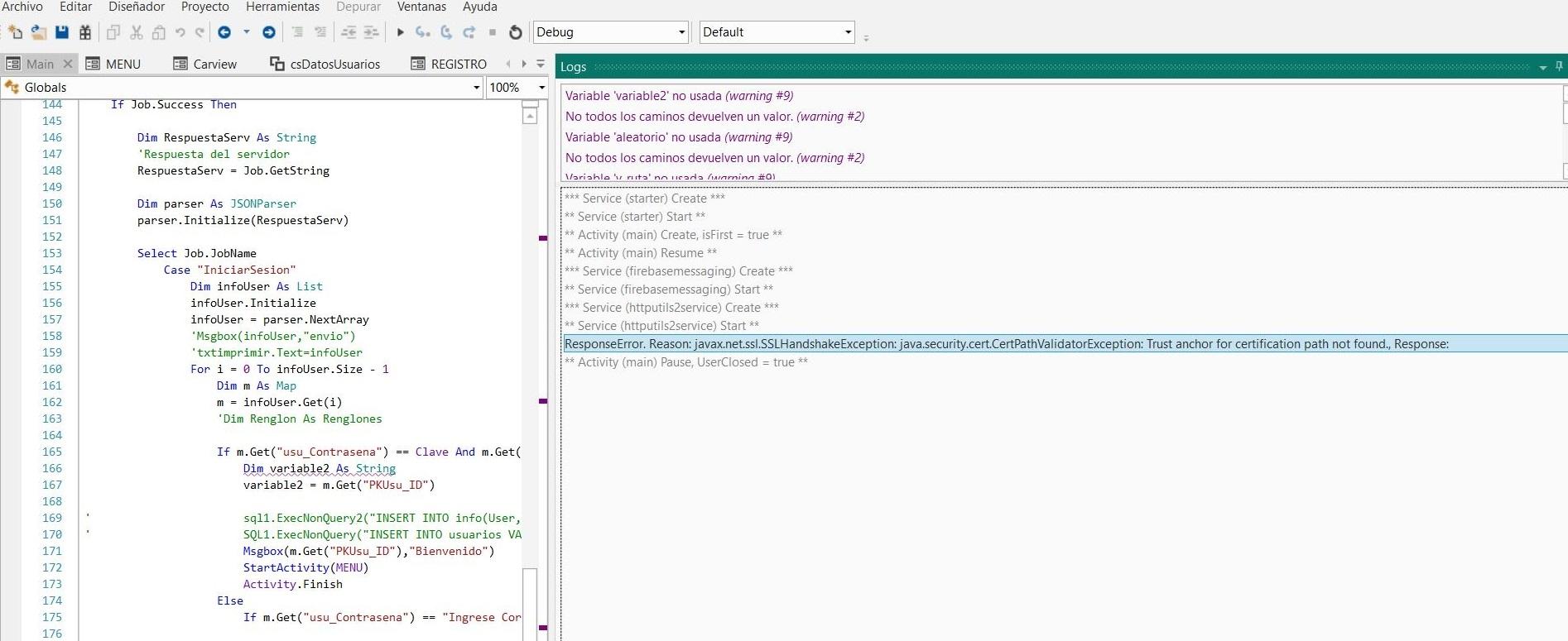 Android Question - Error ResponseError  Reason: javax net