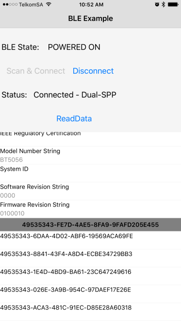 iOS Question - UART data comms using BM78 dual mode BLE