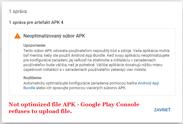 Android Question - Unoptimized file APK - Google Play Console