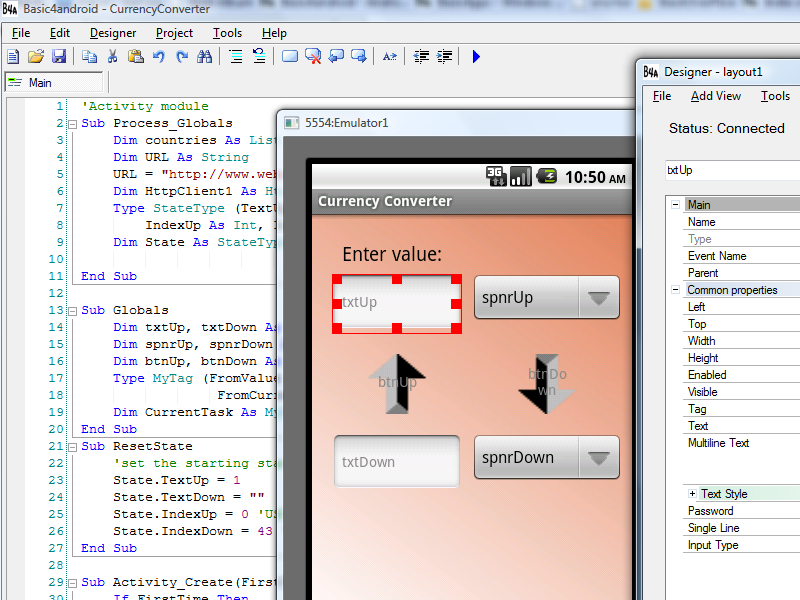 Basic4android screenshot: android,development,programming,ide,sdk,basic4android,visual basic,compiler,tool