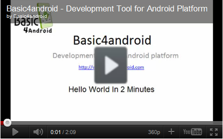 Basic4android Hello World video